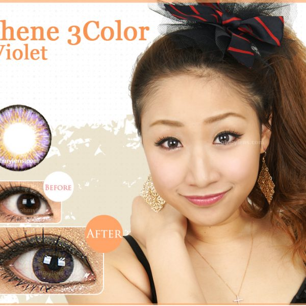 a beautiful girl with Ahene 3 Color Violet Contact Lenses for farsightedness Hyperopia (3 Tone Violet) 01