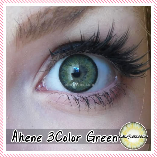a beautiful girl with Ahene 3 Color Green Contact Lenses for farsightedness yperopia (3 Tone Green) 05