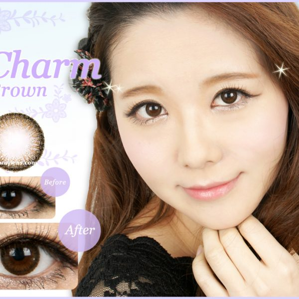 a beautiful girl with Charm Brown Contact Lenses 01