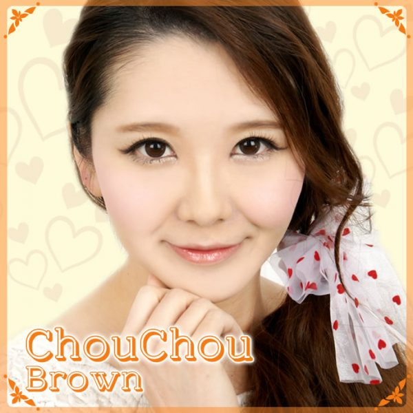 a beautiful girl with Chou Chou Brown Contact Lenses 02