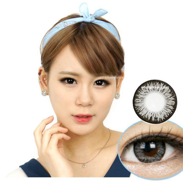 a beautiful girl with Malib Gray Contact Lenses 01