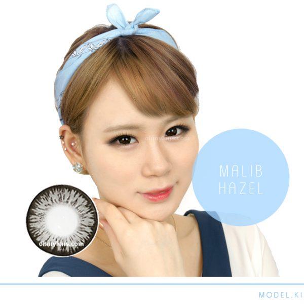 a beautiful girl with Malib Gray Contact Lenses 02