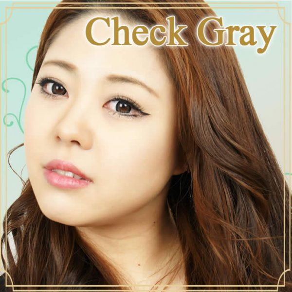 a beautiful girl with Check Gray Contact Lenses 02