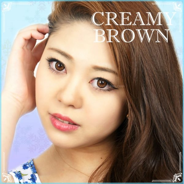 a beautiful girl with Creamy Brown Contact Lenses 03
