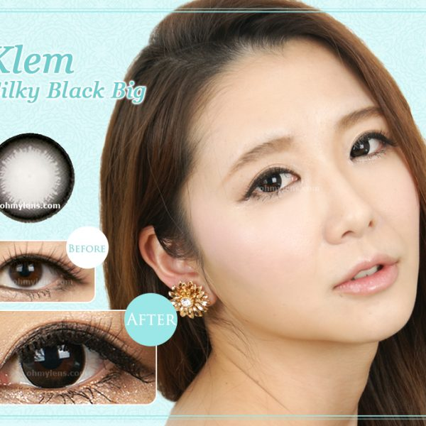 a beautiful girl with Klem Silky Black (Big) Contact Lenses 01