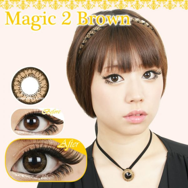 a beautiful girl with Magic 2 Brown Contact Lenses for Farshightedness Hyperopia 01